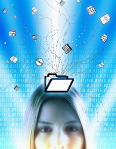 Woman surrounded by  computer icons and binary, portrait
